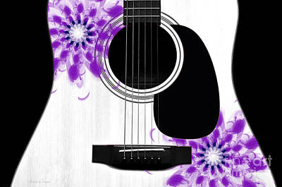 Floral Abstract Guitar 30 Print by Andee Design