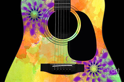 Floral Abstract Guitar 35 Print by Andee Design