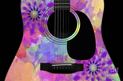 Bridge Digital Art - Floral Abstract Guitar 36 by Andee Design