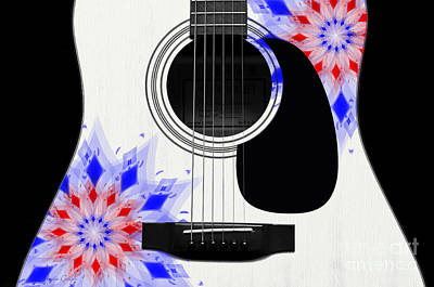 Bridge Digital Art - Floral Abstract Guitar 4 by Andee Design
