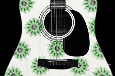 Floral Abstract Guitar 5 Print by Andee Design