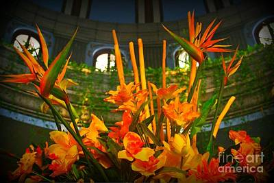 Floral Arragement In Lobby Of The Riu Cancun Hotel Print by John Malone
