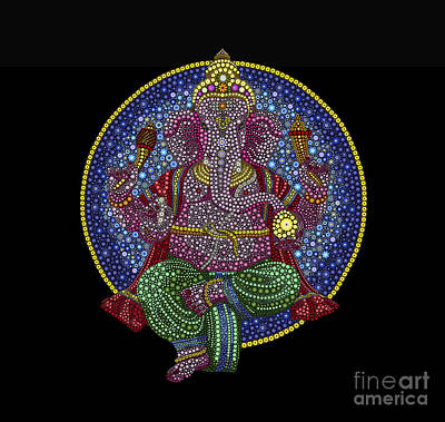 Floral Ganesha Print by Tim Gainey