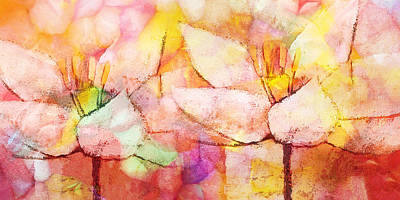 Flower Abstract Painting - Floral Panoramic by Lutz Baar