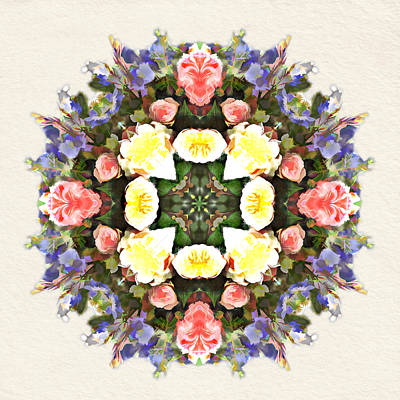 Wreath Painting - Floral Spring Bouquet Of Garden Flowers by Elaine Plesser