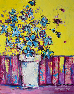 Wild Flowers Mixed Media - Floral Still Life Blue Hues by Patricia Awapara