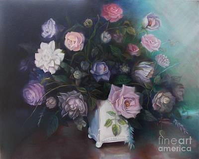 Mums Painting - Floral Still Life by Marlene Book