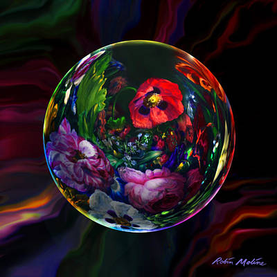 Abstracted Digital Art - Floral Still Life Orb by Robin Moline