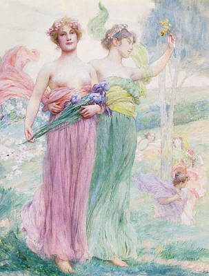 Women Together Painting - Floreal by Henry Siddons Mowbray