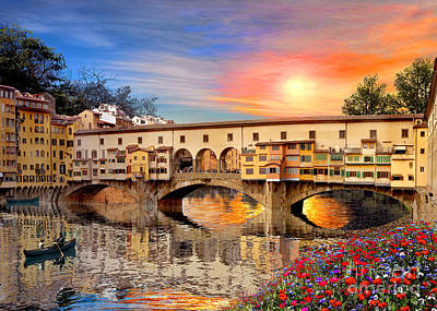 Sunset Digital Art - Florence Bridge by Dominic Davison