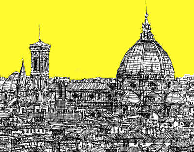 Florence Duomo In Acid Yellow Print by Adendorff Design