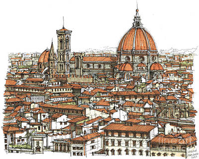 Skyscrapers Drawing - Florence In Colour by Adendorff Design