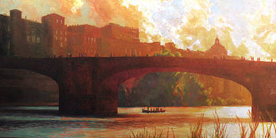 Tuscan Sunset Painting - Florence Italy The Arno River At Sunset by Christopher Clark