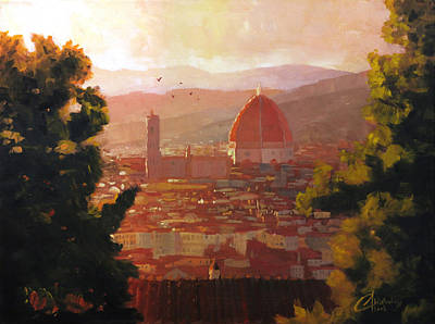 Tuscan Sunset Painting - Florence Italy The Duomo From A Distance by Christopher Clark