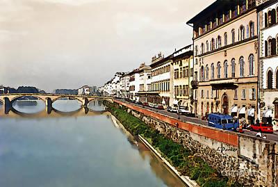 Impressionism Digital Art - Florence On The Arno  by Linda  Parker