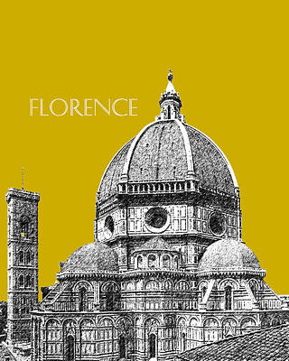 Pen Digital Art - Florence Skyline Cathedral Of Santa Maria Del Fiore 1 - Gold   by DB Artist