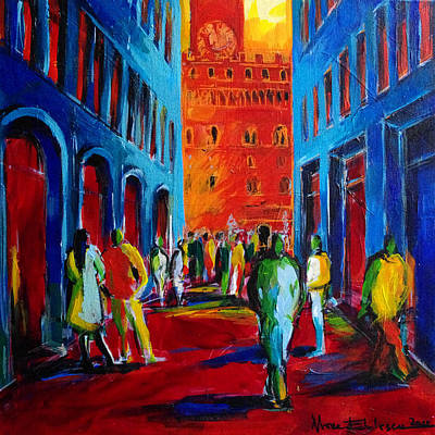 Fauvist Painting - Florence Sunset by Mona Edulesco
