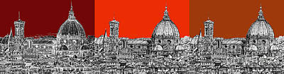 Sepia Ink Drawing - Florence's Duomo In Oranges by Adendorff Design