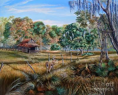 Florida Landscape Painting - Florida Cracker Cowboy- Third Generation Bowhunter by Daniel Butler