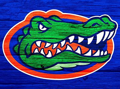 Blue Barn Doors Mixed Media - Florida Gators Barn Door by Dan Sproul