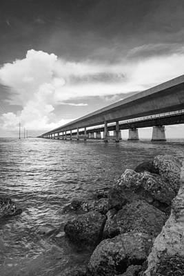 Florida Keys Seven Mile Bridge South Bw Vertical Print by Photographic Arts And Design Studio
