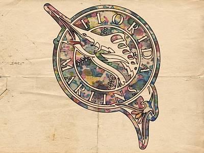 Bat Digital Art - Florida Marlins Vintage Poster by Florian Rodarte