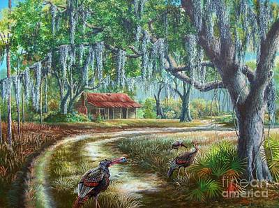 Palmettos Painting - Florida Osceola Turkeys - Evening Shadows by Daniel Butler
