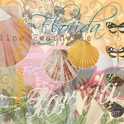 Seashell Digital Art - Florida Seashells Collage by Mary Hubley