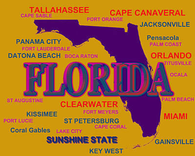 Florida State Pride Map Silhouette  Print by Keith Webber Jr