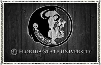 Florida State Mixed Media - Florida State University Black And White Barn Door by Dan Sproul