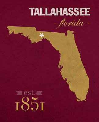 Tallahassee Mixed Media - Florida State University Seminoles Tallahassee Florida Town State Map Poster Series No 039 by Design Turnpike