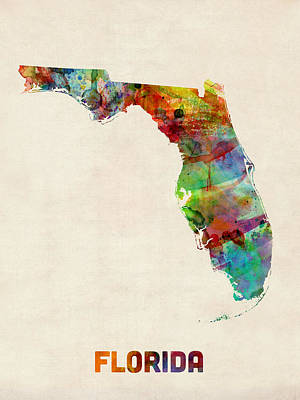 Florida Watercolor Map Print by Michael Tompsett
