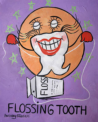 Flossing Tooth Print by Anthony Falbo