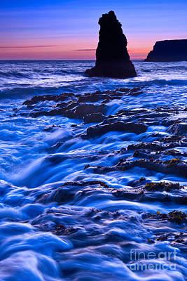 Flow - Dramatic Sunset View Of A Sea Stack In Davenport Beach Santa Cruz. Print by Jamie Pham