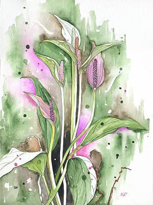 Painting - Flower Anthurium 03 Elena Yakubovich by Elena Yakubovich