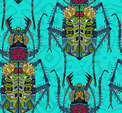 Damask Drawing - Flower Beetle Turquoise by Sharon Turner
