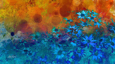 Floral Digital Art Photograph - Flower Fantasy In Blue And Orange  by Ann Powell