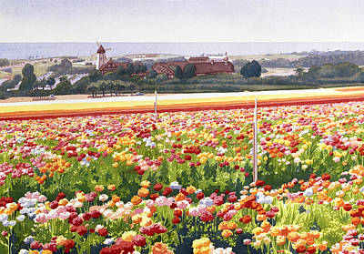 Windmill Painting - Flower Fields In Carlsbad 1992 by Mary Helmreich