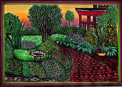 Walkway Drawing - Flower Garden by Beverly Farrington