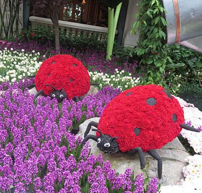 Flower Garden Ladybug Purple White I Print by Navin Joshi