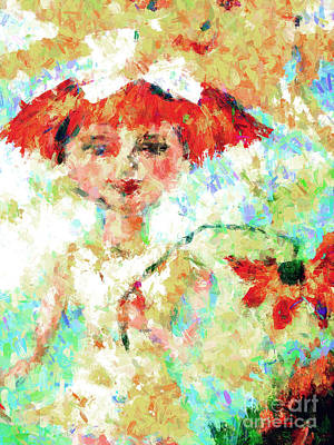 Red Head Mixed Media - Flower Girl And Sunshine by Ginette Callaway