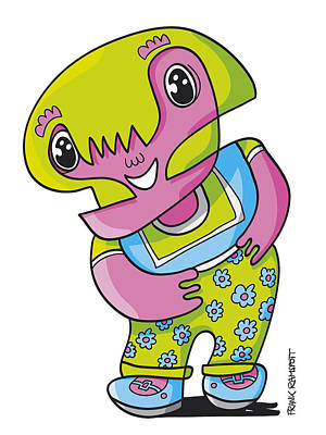 Humor Drawing - Flower Girl Doodle Character by Frank Ramspott
