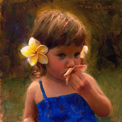 Granddaughter Painting - Flower Girl - Tropical Portrait With Plumeria Flowers by Karen Whitworth