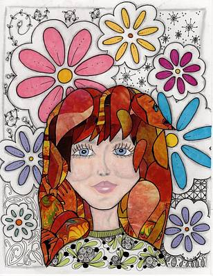 Abstract Collage Drawing - Flower Girl by Paula Dickerhoff