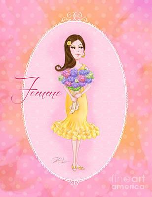 Girls Mixed Media - Flower Ladies-femme by Shari Warren