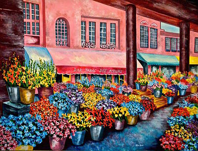 Print Of Irises Painting - Flower Market In Nice France by Jan Law
