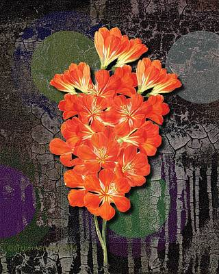 Flower Meets Grunge Meets Popart Print by Mimulux patricia no No