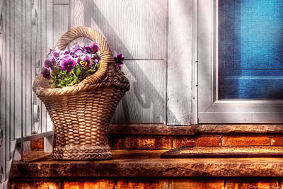 Flower - Pansy - Basket Of Flowers Print by Mike Savad