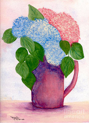 Pitcher With Flowers Painting - Flower Pitcher by Flamingo Graphix John Ellis