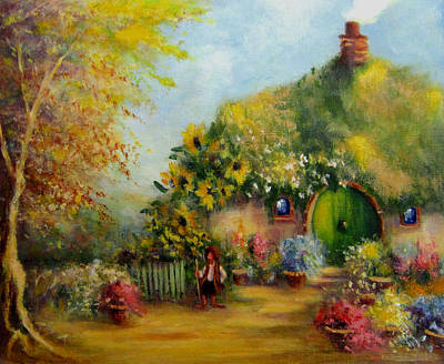 Tolkien Painting - Flower Pots Hobbiton by Joe  Gilronan